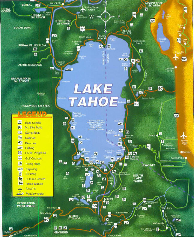 Lake Tahoe Map for Luxury and Vacation Rentals
